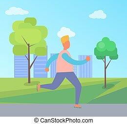 Man on Roller Skates in Park Vector Illustration