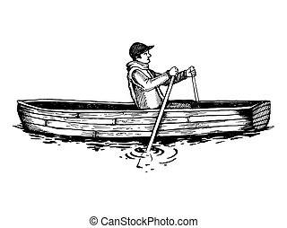 Man on rowing boat engraving vector illustration