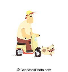 Man On Scooter With Dog