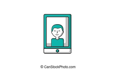 man on screen smartphone team work ilustration
