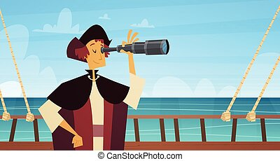 Man On Ship With Spyglass Happy Columbus Day National Usa Holiday Concept