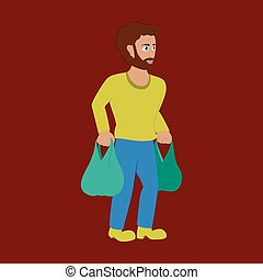Man on shopping with packages