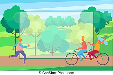 Man on Skate Rollers and Couple on Bicycle in Park