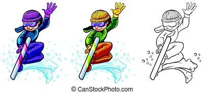 Man on snowboard in three different drawing styles