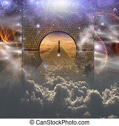 Man on spiritual journey