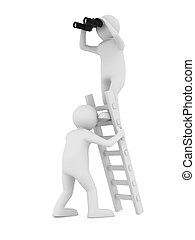 man on staircase. Isolated 3D image