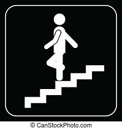 Man on Stairs going down symbol