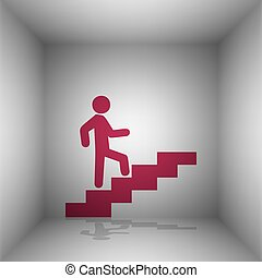 Man on Stairs going up. Bordo icon with shadow in the room.