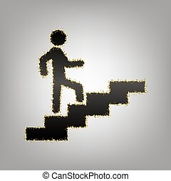 Man on Stairs going up. Vector. Blackish icon with golden...