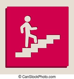 Man on Stairs going up. Vector. Grayscale version of Popart-style icon.
