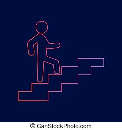 Man on Stairs going up. Vector. Line icon with gradient from red to violet colors on dark blue background.