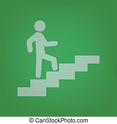 Man on Stairs going up. white icon on the green knitwear or wool