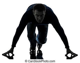 man on starting blocks silhouette full length