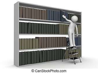 Man on stepladder takes book from bookcase