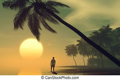 Man on the beach at sunset