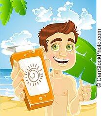 man on the beach with cream for sunburn