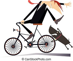 Man on the bicycle and aggressive dog illustration - Angry...