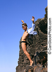 Man on the edge of the cliff