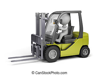 Man on the forklift truck - 3D person on the forklift truck....