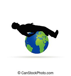 man on the globe vector illustration