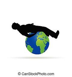 man on the globe vector illustration