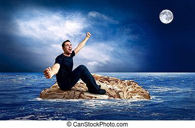 Man on the island in sea.