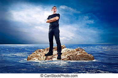 Man on the island in sea.