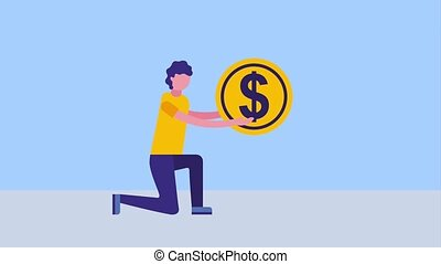 man on the knee holding big coin dollar animation hd