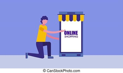 man on the knee with smartphone online shopping bag icon vector ilustration