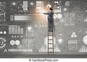 Man on the ladder in data management concept