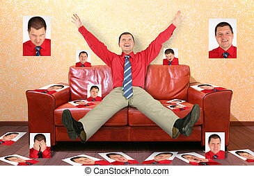 man on the leather red sofa with the photographs, collage