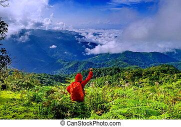 man on the mountain peak