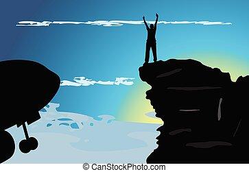 man on the mountain top illustration