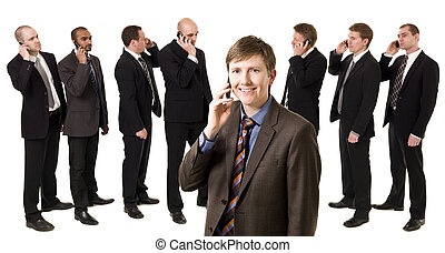 Man on the phone in front of his team