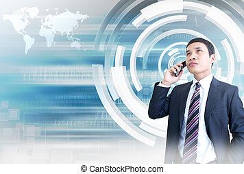 Man On The Phone With Hitech Background