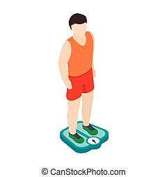 Man on the scales icon, isometric 3d style
