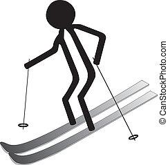 man on the ski in winter icon