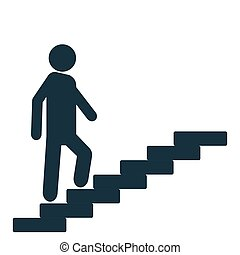 Man on the stairs goes up. Motivation icon vector