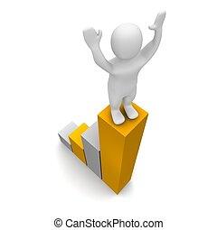 Man on the top of growing chart. 3d rendered illustration.