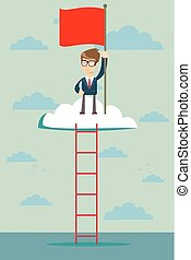 man on the top of the cloud holding the red flag. Leadership concept.