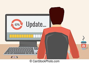 Man working on internet using computer where update software. He drinking coffee. Vector concept work at home, freelance, update process. Flat style. Web infographics. Back view