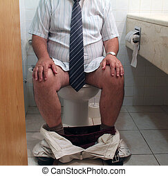 Man on toilet seat