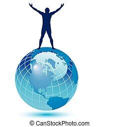 man on top - A joyful man on top of the world