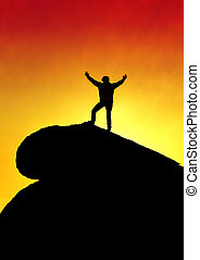 Man on Top of Mountain Top