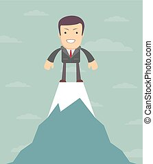 Man on top of the world, vector illustration