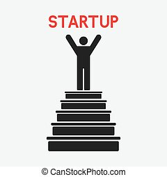man on top. startup concept