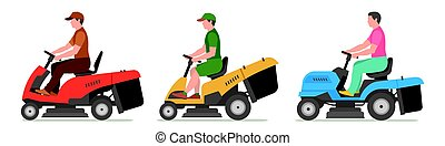 Man on tractor lawnmower