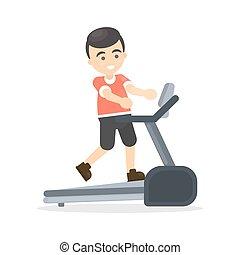 Man on treadmill.