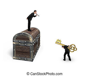 Man on treasure chest command employee carrying Euro symbol key