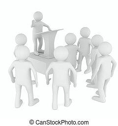 man on tribune. Isolated 3D image on white
